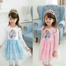 New Xmas Girls Kids Frozen Princess Elsa Anna Tutu Dress Cosplay Skirt Costume