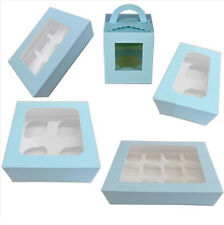 Clear Window Cupcake Boxes For 1, 2, 4, 6, 12 Cakes With Removable Insert Blue