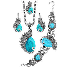 Antique Silver Plated Cute Peacock Bead Necklace Earrings Turquoise Jewelry Sets