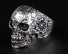 Men's Gothic Skull Flower Biker 316L Stainless Steel Bleach Ring US Size 8-14