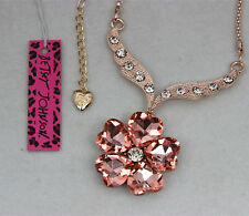 Betsey Johnson Love Flowers Crystal Pendant Necklace Free shipping
