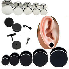 2 PCS Retro Mens Barbell Punk Gothic Stainless Steel Ear Studs Earrings Fashion