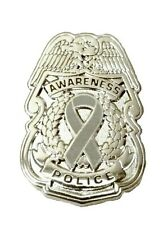 Gray Awareness Ribbon Pin Police Badge Security Sheriff Cop Cancer Causes New