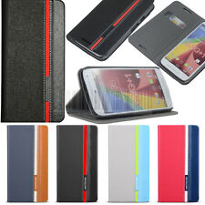 Luxury Flip PU Leather Stand Case Wallet Cover For Motorola Moto G2 2014 XT1068