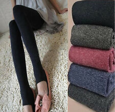 Winter Women Pedal Tights Keep Warm Alpaca Wool Leggings Stretchy Tights