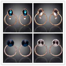 18K Gold Plated Austrian Crystal Ring Designs Stud Earrings Jewelry In 4 Styles