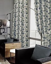 EDEN LINED EYELET CURTAINS TEAL & CREAM LUXURY FAUX SILK LEAF READY MADE PAIRS