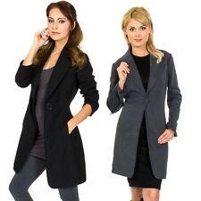 Womens Long Coat Dressy Jacket Single Button Overcoat Wool Blazer By AlpineSwiss