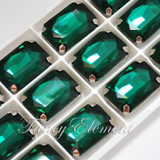12pc Rhinestone 4627 27x18mm Sew On Emerald Green Crystal Rectangle Silver Plate