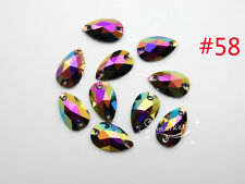 100 7mmx10mm Acrylic beads Tear Drop Color AB Faceted Sew On Flat Back Jewels