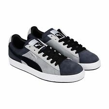 Puma Mens Suede Stripes & Blocks Gray Black Suede Lace Up Sneakers Shoes