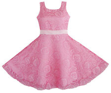 Flower Girl Dress Pink Rose Wedding Pageant Kids Boutique Size 4-12