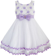 Flower Girl Dress Purple Flower White Tulle Pleated Wedding Party Size 2-10