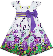 New Girls Dress Bow Tie Purple Floral Sleeve Princess Boutique Party Kids 2-10