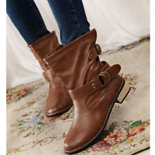Fashion women Lady Flat shoes Mid-Calf Ankle Army Boots British Driving Shoes