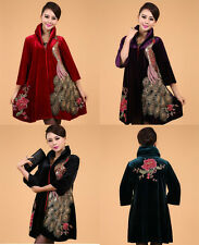 Middle-aged and old women's peacock embroidery pleuche Oversize cloak dust coat