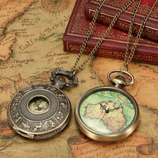 Antique Retro Bronze Quartz AU Map Necklace Pendant Chain Pocket Watch