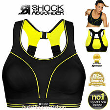 Shock Absorber Ultimate Run Black Lime Sports Bra New Sizes 32-38 B-DD