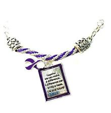 Purple Awareness Ribbon Braided Bracelet Engraved Square Charm Cancer Causes New