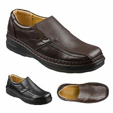 Mens Leather Slip On Shoes Size 6 to 11 UK Black or Brown - OFFICE & CASUAL 009