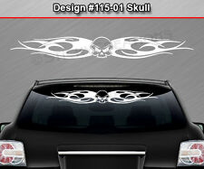 Design #115-01 SKULL Tribal Flame Windshield Decal Window Sticker Vinyl Graphic