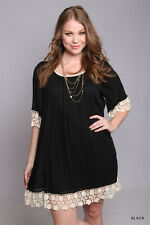 Polyester Cotton Plus Size Black Umgee Crochet Bell Sleeve Tunic Dress XL1X 2X