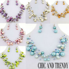 """""""PEARL ILLUSION"""" FORMAL WEDDING, BRIDESMAID, NECKLACE SET*CHIC AND TRENDY"""