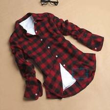 Button Down Plaid & Checks Flannel Casual Lapel Shirt Women Shirt Tops Blouse MT