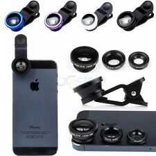 [3-in-1 kits] Detachable 180° Fish Eye+0.67X Wide Angle+Macro Clip Camera Lens