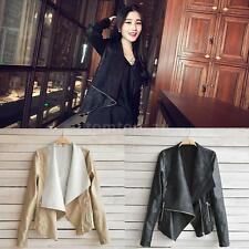 Vintage Fashion Womens Slim Biker Motorcycle PU Soft Leather Zipper Jacket Coat