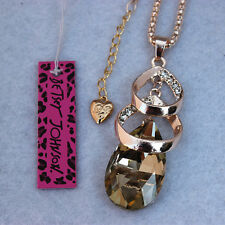 Betsey Johnson Crystal Drop Pendant Sweater Chain Necklace