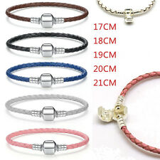 Genuine Real Leather Bracelet for European sterling solid silver charm lot bead