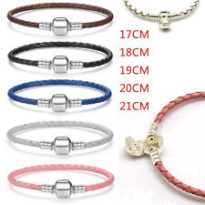 925 Leather Bracelet Chain for European sterling solid silver charm lot beads