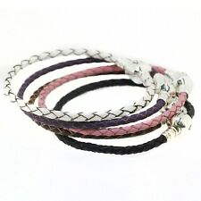 European Genuine leather Bracelet Fit For sterling solid silver charm bulk bead