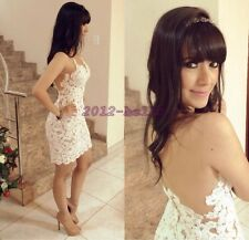 Hot Women's Sexy Backless Straps Lace White Club Party Cocktail White Mini Dress