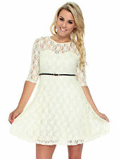 Sexy Womens Spoon Neck 3/4 Sleeve Lace Dress Suit Party Dress Skirt Leather Belt