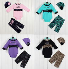 3pcs Girl Baby Newborn Kids Hat+Romper+Pants Trousers Set Outfit 0-9M Clothing