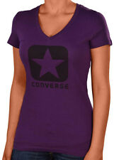 Converse Women's V-Neck Casual Graphic Star Shirt-Purple