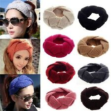 Women's Punk Style Knitted Braided Head Wrap Crochet Hair Band Loop Headband -S