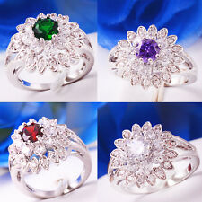 Vintage Multi-color Gems 14k Gold Filled Ring Size 6 7 8 9 Xmas Wedding Jewelry