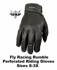 Fly Racing Leather Rumble Perforated Gloves Motorcycle Chopper Cruiser Bobber