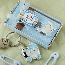 35 Blue or Pink Baby Carriage Key Chain Favors Baby Shower Favor Boy or Girl