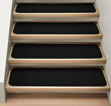 Set of 12 ATTACHABLE Carpet Stair Treads BLACK runner rugs