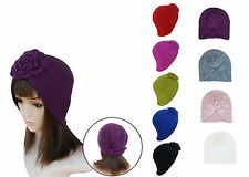 Baroque Style Womens Winter Chunky Knit Floral Turban Beanie Ski Hat A232