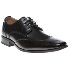 New Mens Peter Werth Black Chisel Point Wingtip Leather Shoes Brogue Lace Up