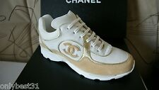 NIB CHANEL Cruise Beige Canvas Suede Gold CC Trainer Sneakers  IT 35 - IT 42