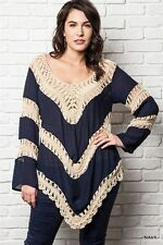 Plus Size Umgee Southern Navy Color Crochet Bell Sleeve Tunic Blouse XL 1X 2X