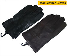 Men's Real Geniune Leather Wrist Length Winter Gloves with Soft Fleece Lining