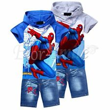 Spiderman Kids Set Boys Girls Hooded Top T-Shirt+Jeans Shorts Pants Outfit Suits