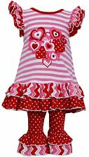 Bonnie Jean Girls Spring Valentine Holiday Heart Dress & Legging Outfit 2T - 4T